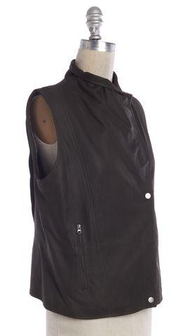 VINCE Olive Green Leather Zip Up Snap Button Jacket Vest
