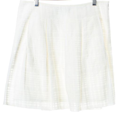 VINCE White Check Pleated Skirt