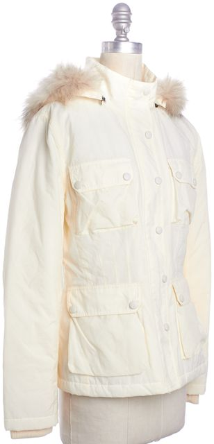 VINCE Ivory Parka Coat With Hood