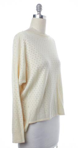 VINCE Ivory Wool Boat Neck Open Knit Sweater