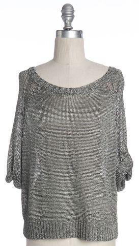 VINCE Silver Open Knit Top