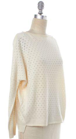 VINCE Ivory Open Knit Long Sleeve Boat Neck Top