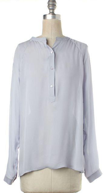 VINCE Light Lavender Silk Long Sleeve Blouse Top