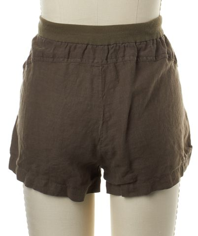 VINCE Dark Olive Green Linen Casual Shorts