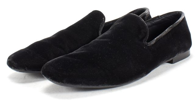 VINCE Black Velvet Bray Slide On Loafers Flats