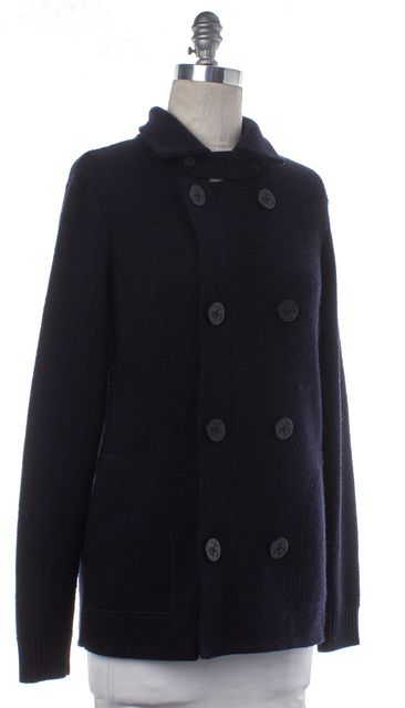 VINCE Navy Blue Wool Knit Nautical Sweater Coat