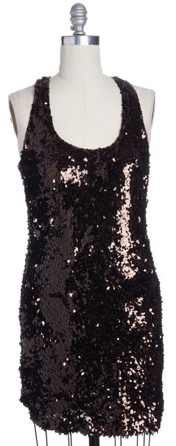 VINCE Brown Sequin Racerback Sheath Dress
