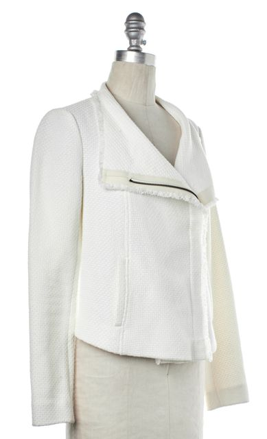 VINCE White Knit Zip Up Moto Jacket