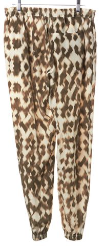 VINCE White Green Printed Silk Casual Pants