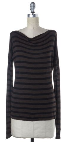 VINCE Brown Black Striped Cowl Neck Long Sleeve Basic Tee Top