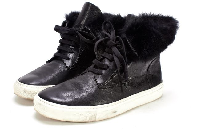 VINCE Black Leather Hi-Top Fur Cuff Sneakers