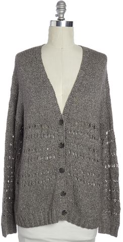 VINCE Gray Open Knit Button Down Cardigan Size L