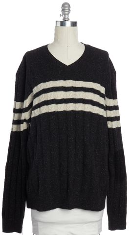 VINCE Dark Gray Beige Contrast Stripe Wool Sweater Size XXL