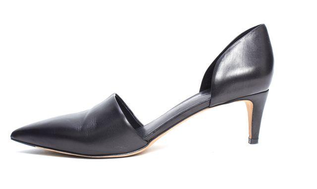 VINCE Black Leather d'Orsay Kitten Heels