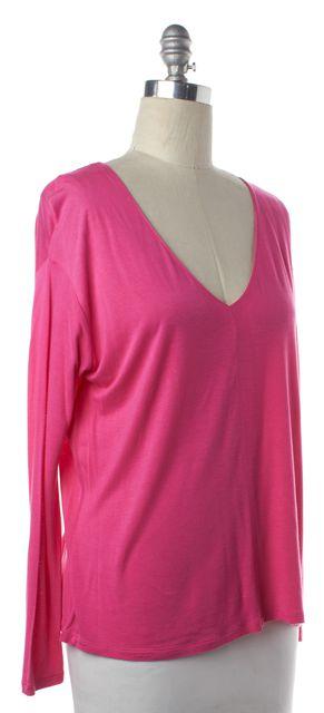 VINCE Pink Long Sleeve V Neck Basic Tee Top