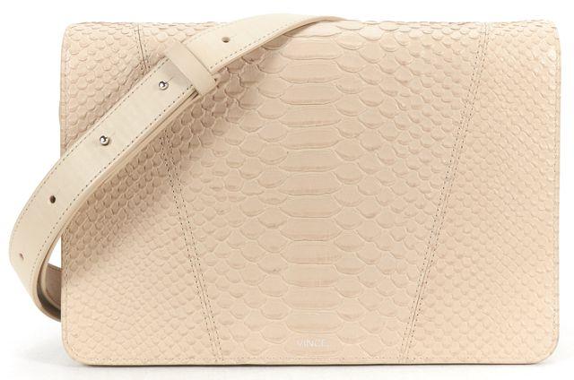 VINCE Beige Python embossed Leather Flap Closure Crossbody Bag