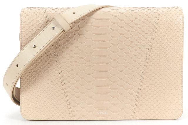 VINCE Beige Python embossed Leather Flap Closure Crossbody Bag