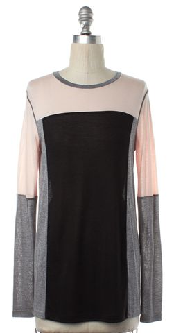 VINCE Black Gray Pink Colorblock Long sleeve Knit Top