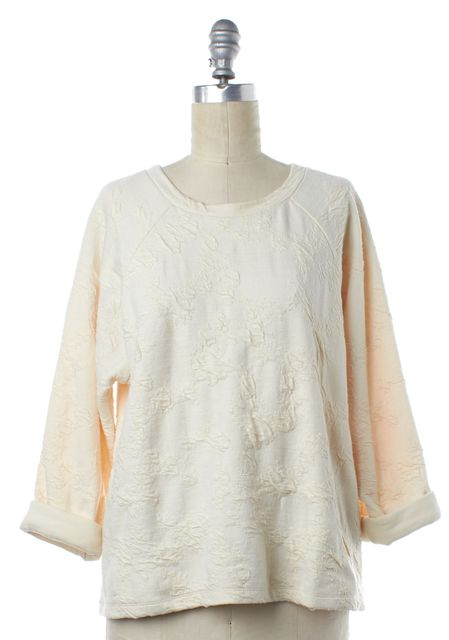 VINCE Ivory Cream Floral Long Sleeve Knit Top