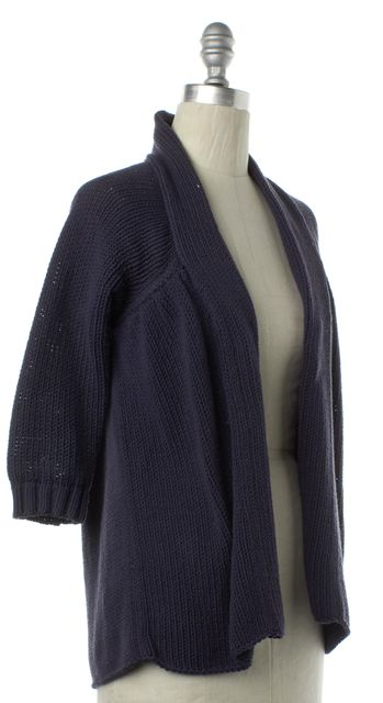VINCE Blue Knit 3/4 Sleeves Open Cardigan Sweater