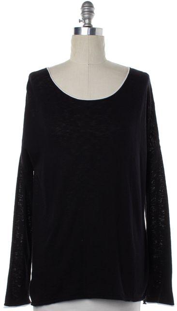 VINCE Black Cotton Knit White Trim Sweater