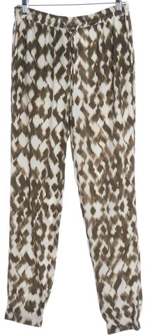VINCE Olive Green Beige Abstract Print Silk Casual Pants