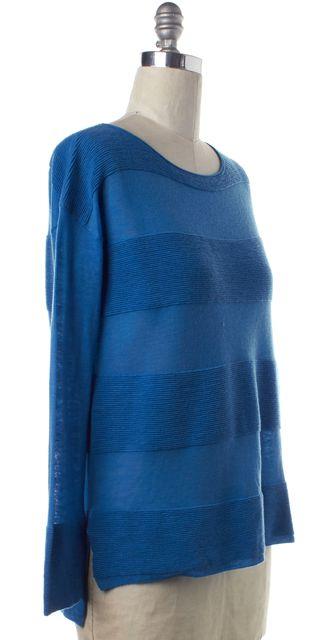 VINCE Blue Wool Knit Striped Sweater