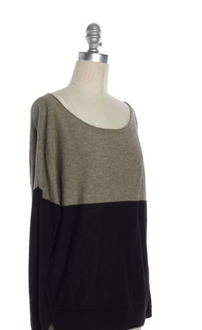 VINCE Beige Black Colorblock Cotton Knit Boat Neck Sweater