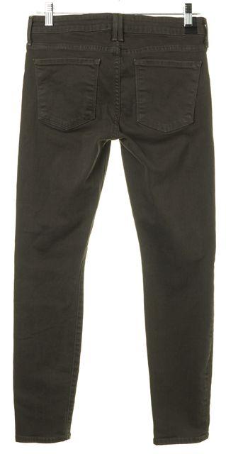 VINCE Olive Green Stonewashed Stretch Cotton Denim Skinny Ankle Jeans