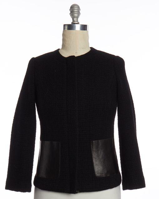 VINCE Black Tweed Wool Faux Leather Trim Zip Up Basic Jacket