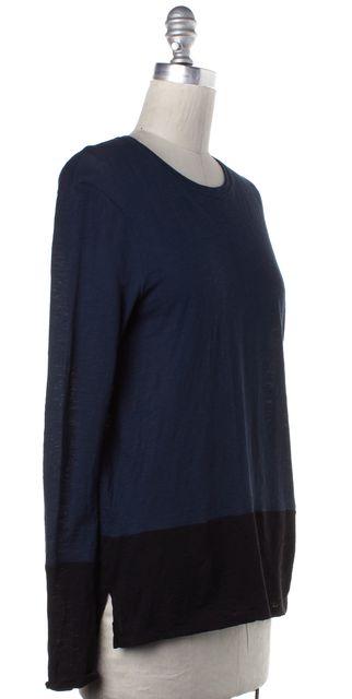 VINCE Blue Black Colorblock Long Sleeve Basic Tee Top