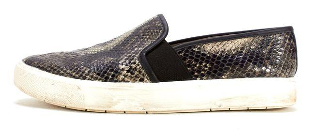 VINCE Black Beige Snakeskin Embossed Leather Blair Slip-on Sneakers