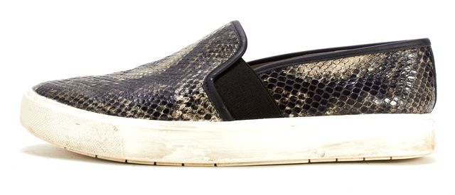 VINCE Black Beige Snakeskin Embossed Leather Blair Slip-on Sneakers