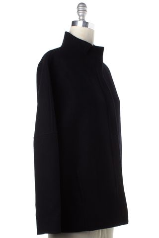 VINCE Navy Blue Wool Basic Jacket Coat