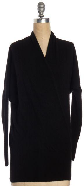 VINCE Black Cashmere Front Wrap Long Sleeve Knit Top