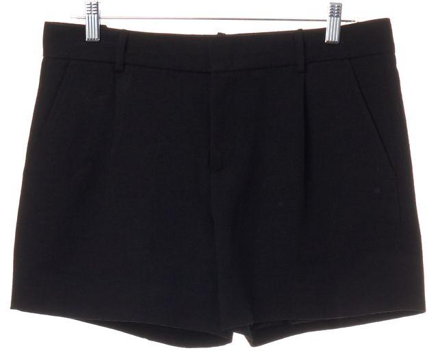 VINCE Black Cotton Pleated Dress Shorts