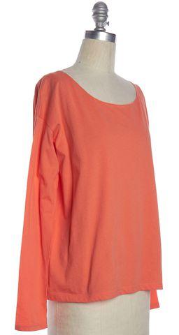 VINCE Orange Long Sleeve Scoop Neck Basic Tee Top