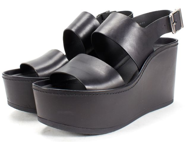 VINCE Black Leather Strap Platform Sandals Size 37.5 US 7.5