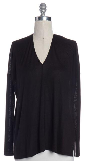 VINCE Black V Neck Long Sleeve Knit Top