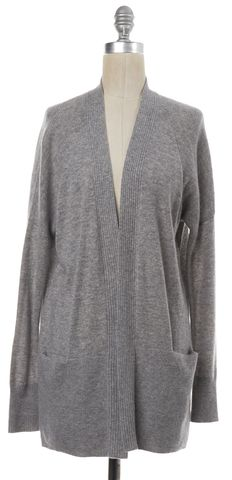 VINCE Gray Cashmere Knit Drop Sleeve Cardigan Sweater