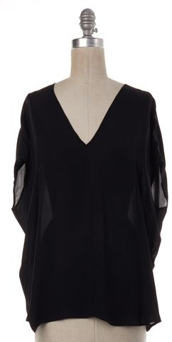 VINCE Black Silk V-Neck Blouse