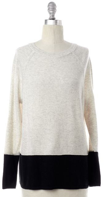 VINCE Gray Black Colorblock Cashmere Knit Top