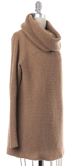 VINCE Brown Wool Knit Cowl Neck Sweater