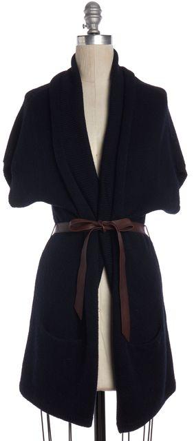 VINCE Navy Blue Wool Knit Open Cardigan Sweater