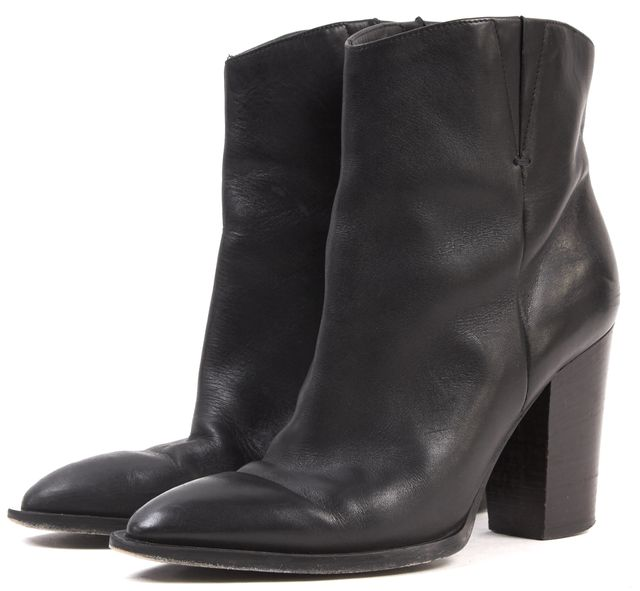 VINCE Black Leather Stacked Heel Ankle Boots