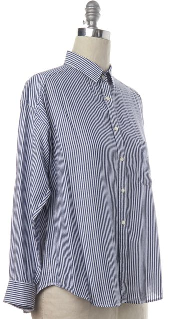 VINCE Blue White Striped Button Down Shirt Top