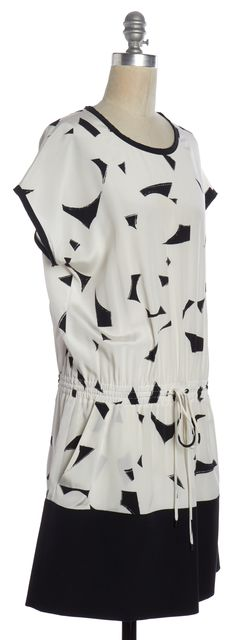 VINCE White Black Printed Silk Short Sleeve Blouson Dress