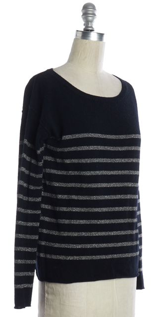 VINCE Navy Blue Silver Striped Wool Knit Top
