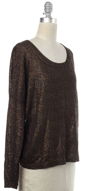 VINCE Bronze Brown Coated Knit Top
