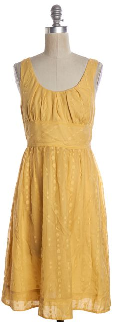 VINCE Yellow Polka Dot Fit Flare Dress
